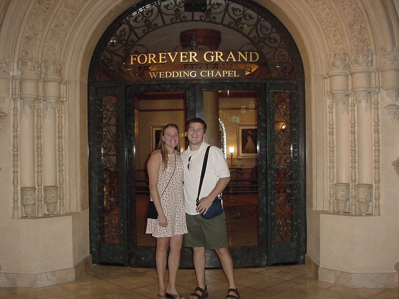 Carrie and Jonathan at the MGM Wedding Chapel in 2003