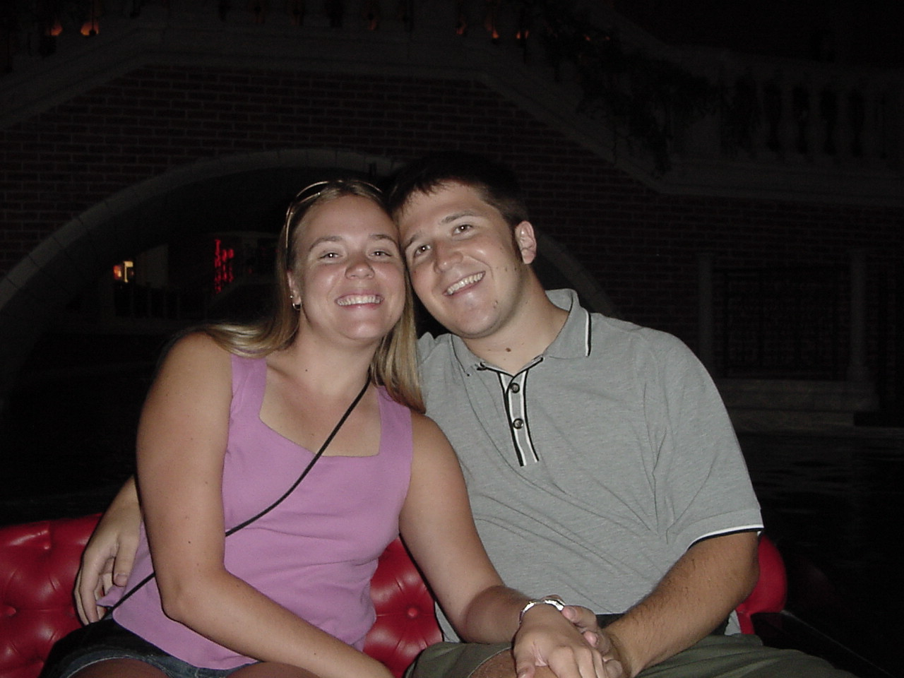 Carrie And Jonathan on the Gondola at the Venetian in 2003.